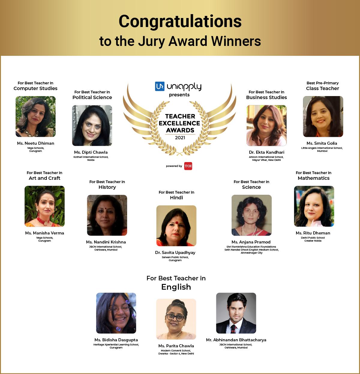 Winners of Teachers Excellence